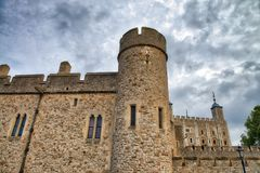 The Tower of London, UK. Ancient landmark on a cloudy day Royalty Free Stock Image