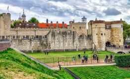 The Tower of London, UK. Ancient landmark on a cloudy day.  Royalty Free Stock Photo