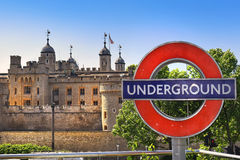 Tower of London and Underground, symbols of the London Stock Image