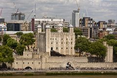 Tower of London. Unique elevated view of the Tower of London. Also called Her Majesty's Royal Palace and Fortress  is a historic castle, founded in 1066 Stock Photo