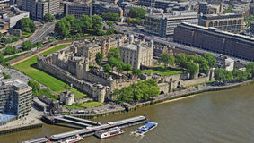 The Tower of London. A view of the Tower of London from above Stock Images