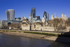 Tower of London and view of the City of London Stock Image