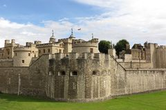 Tower of London view outside moat sunny day Stock Images