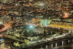 The Tower Of London. A view over the Tower Of London at night from across the Thames stock photos