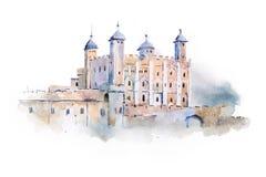 Tower of London watercolor drawing, London, UK. English sightseeing aquarelle painting.  royalty free stock photo