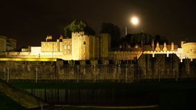Tower of London, West Side Casemate shot in night, with full moo royalty free stock photography