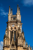 Tower of Lourdes Church. With blue sky in Bogota, Colombia Royalty Free Stock Photos