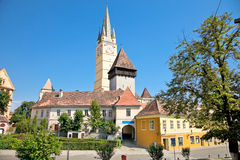 Tower of lutheran church in Medias, Transylvania, Romania Stock Photo