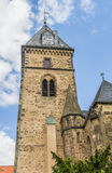 Tower of the Münster St. Bonifatius church in Hameln. Germany stock photo