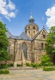 Tower of the Münster St. Bonifatius church in Hameln. Germany royalty free stock photo
