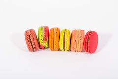 Tower macaroon. Isolated Tasty colorful macaroon sweet Stock Photos