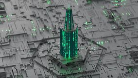 Tower made of glowing digital HEX code 3D rendering illustration. Tower made of glowing digital HEX code. Modern technologies concept. 3D rendering illustration royalty free illustration
