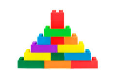Tower made from plastic colorful toy blocks Royalty Free Stock Photo