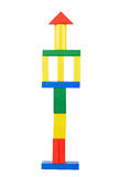 Tower made from wooden toy blocks Royalty Free Stock Photography
