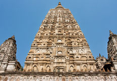 Tower of Mahabodhi Temple (Great Awakening Temple) built in 3rd century B.C. Royalty Free Stock Photo