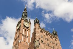 Tower of Main City hall in the old city of Danzig, Poland. Gdansk Stock Image