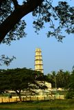 The tower of  Manora fort with tree branches. Stock Images
