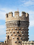 Tower. Manzanares el Real Castle (Spain), build in the 15th. century.  Detail of one of its towers Stock Photos