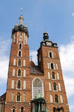 The tower of Mariacki Church in Cracow Royalty Free Stock Photo