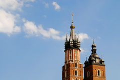 The tower of Mariacki Church in Cracow. Poland Royalty Free Stock Images