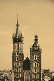 The tower of Mariacki Church in Cracow, Poland Stock Image