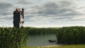 Tower in the Marshes. Mediaeval or fantasy tower in empty marshlands with depth of field effect to focus on tower, 3d digitally rendered illustration Royalty Free Stock Photography