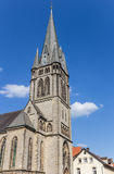 Tower of the Martin Luther church in the center of Detmold. Germany stock image