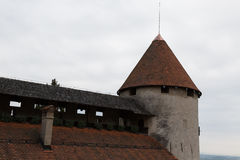 Tower of the medieval Bled castle Stock Photos