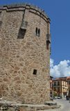 TOWER OF THE MEDIEVAL CASTLE WITH ALMIGHTS FOR THE DEFENSE OF THE CITY stock photos