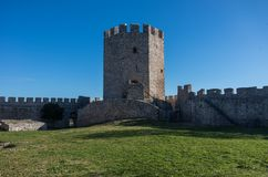 Tower of medieval castle of Platamonas. It is a Crusader castle. In northern Greece and is located southeast of Mount Olympus. Pieria - Greece Royalty Free Stock Photo
