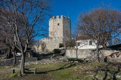 Tower of medieval castle of Platamonas. It is a Crusader castle. In northern Greece and is located southeast of Mount Olympus. Pieria - Greece Stock Images
