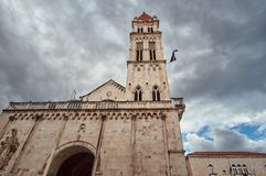 Tower of medieval cathedral. In the town of Trogir in Croatia Stock Images