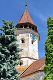 Tower of medieval church. Tower of Prejmer medieval church in Transylvania,  Romania Royalty Free Stock Photography