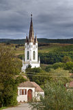Tower at medieval church in Transylvania Royalty Free Stock Photography