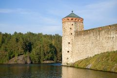 The tower of the medieval fortress Olavinlinna. Savonlinna, Finland stock photography