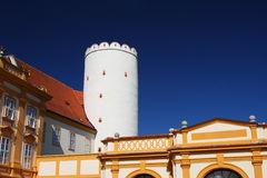 Tower in the Melk Abbey, Wachau region, Austria. White tower in the Melk Abbey in Melk (by the Danube), Wachau region, Austria Stock Image