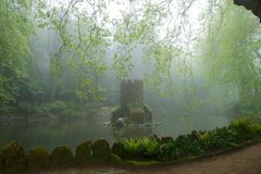 Tower in the middle of a lake in a misty forest Royalty Free Stock Photos