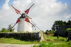 Windmill of Narbon. Moulin du Narbon. Morbihan, Brittany, France. stock image