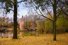 Tower in Minnewater park in Bruges, Belgium Royalty Free Stock Image