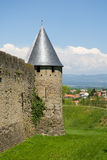 Tower and moat of carcassonne chateau Stock Image