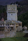 The Tower of a Monastery at Athos Mountain Stock Photo
