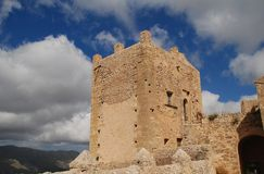 Monastery of Puig de Maria, Majorca. The tower of the monastery and church at the summit of the Puig de Maria at Pollensa on the Spanish island of Majorca royalty free stock image