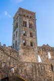 Tower of monestir Sant Pere de Rodes Royalty Free Stock Images