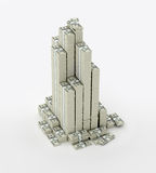 Tower of money packs. Money paks stored in stacks and in tower Stock Illustration