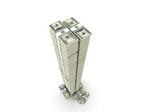 Tower of money packs. Money paks stored in stacks and in tower Vector Illustration