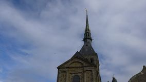 Tower of Mont-Saint-Michel viewed from west terrace. Normandie,France-January 26, 2018: Tower of Mont-Saint-Michel viewed from west terrace stock video footage