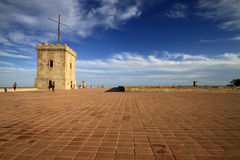 Tower in Montjuic Castle, Barcelona, Catalonia, Spain. December 2011 Royalty Free Stock Photography