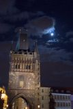 Tower in the Moonlight. Spooky bridge tower in full moon light Stock Photos