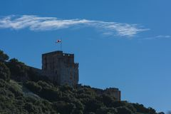 Tower of Moorish Castle in Gibraltaqr stock images