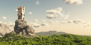 Tower on the Moors. Mediaeval or fantasy tower on a rocky outcrop surrounded by empty moorland and trees, 3d digitally rendered illustration Stock Images